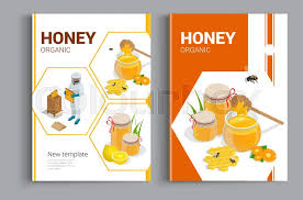 Cover Sheet Design Organic Raw Honey Design Brochure Stock Vector Colourbox
