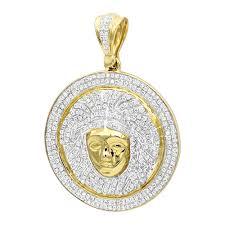 1 carat mini diamond medusa head pendant for men medallion in 10k gold yellow image