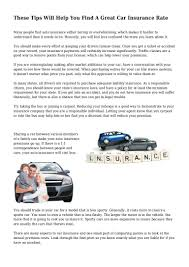 Car Insurance Rate Quotes Best These Tips Will Help You Find A Great Car Insurance Rate