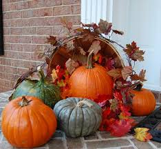 exciting outdoor decoration ideas presenting artificial pumpkins
