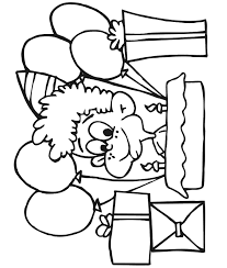 Small Picture Birthday Coloring Page A Boy With Gifts and Balloons