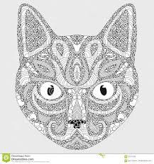 Ritratto Stilizzato Di Un Gatto La Testa Di Un Gatto Arte Lineare
