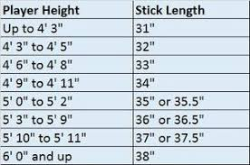 Field Hockey Stick Size Chart Hit The Net Sports