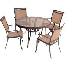 hanover fontana 5 piece aluminum round outdoor dining set with glass top table fntdn5pcg the home depot