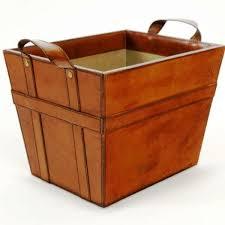 leather storage basket