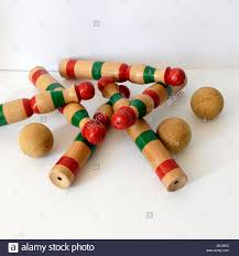 Antique Wooden Bowling Game Vintage wooden bowling kit game with balls Made in Spain with 56
