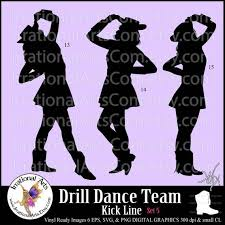 Drill Dance Team Silhouettes Set 5 With 3 Eps Svg Vinyl