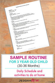 Sample Routine For A 3 Year Old Child 3 Year Old Preschool