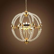 gold crystal beaded chandelier lamp globe metal iron candle sphere hanging light fixtures for living fixture