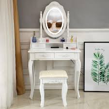 Where Can I Buy A Makeup Vanity Table With Lights Details About White Makeup Vanity Table Set With Lights Led Mirror And 4 Drawers Dressing Desk