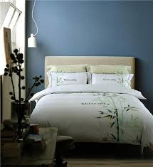 whole bedding set grey king queen size cotton linen embroidered bamboo leaf soft high quality bed linen sets duvet covers white duvet cover king
