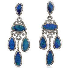 image is loading austrailan opal chandelier earrings 18k gold silver pave