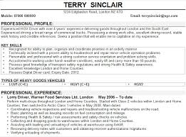 Cv For Driver Job Driver Cv Example