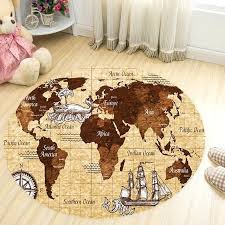 world map area rug round carpets for living room scenery universe anti slip parlor sofa floor vintage old