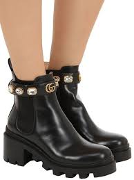 gucci black leather ankle boot with belt view fullscreen