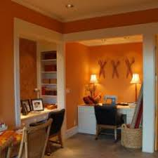 eclectic crafts room. Eclectic Orange Crafts Room With Vibrant Artwork