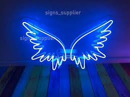 new blue angel wings acrylic neon sign