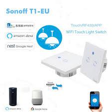 Sonoff T1 <b>EU</b> Smart <b>Wifi</b> Wall Touch Light Switch 1 Gang 2 Gang ...