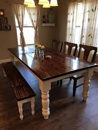 dining room table bench. james+james 8 foot baluster table with a traditional, vintage kona stained top and dining room bench