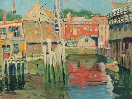 jane peterson 1876 1965 docks at gloucester ca 1915 oil on