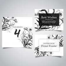 水彩黒と白の花フレームとカードコレクション ベクター画像 無料