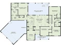 images about house plans on Pinterest   House plans  Square    Plan ND  Split Floor Plans With Angled Garage