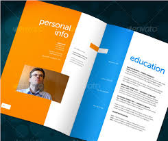 A bold, colorful booklet-style resume