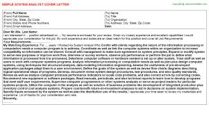System Analyst Cover Letter System Analyst Job Cover Letter