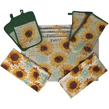 10 piece sunflower design tapestry kitchen set 2 oven mitts 2 pot holders 2 kitchen towels 4 placemats