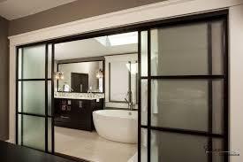 wide black framed frosted glass sliding door design for modern