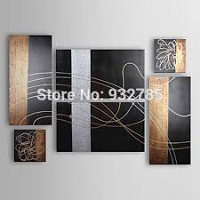 free shipping 100 handmade oil paintings abstract on canvas 6 piece set black gold silver wall art in painting calligraphy from home garden on  on 6 piece wall art set with free shipping 100 handmade oil paintings abstract on canvas 6 piece