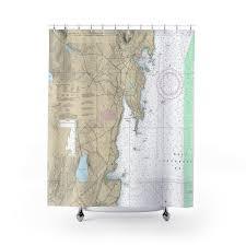 Camden Harbor Nautical Chart Shower Curtains Chart Mugs