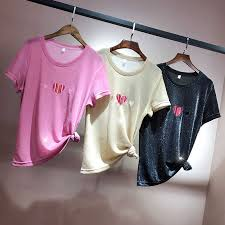 OUMENGKA 2019 <b>Summer Shiny Lurex Tops</b> Women Basic T-Shirt ...