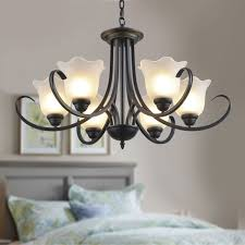 6 light black wrought iron chandelier with glass shades dk 8019 6