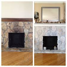 sample sized paints to white wash stone fireplace and paint the mantle