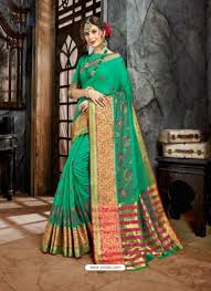 Jade Designer Sarees Jade Green Embroidered Designer Cotton Silk Saree Silk
