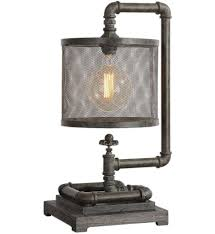 Image Bedside Table Uttermost 295551 Uttermost Bristow Industrial Pipe Lamp Lamps Plus Bedroom Table Nightstand Lamps Lampscom