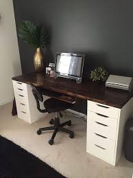 office desk units. Office Desk With IKEA ALEX Drawer Units As Base. Except Use A Makeup Vanity