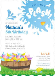 8th Birthday Party Invitations Colorful Water Balloon Birthday Party Invitation Kids Birthday