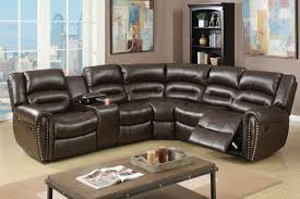leather reclining sectional. Fine Leather Saltan Brown Leather Reclining Sectional For F