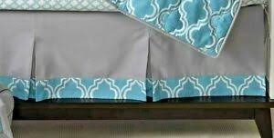 NEW Lambs & Ivy Jensen Collection Gray/Teal Pleated Crib Skirt | eBay