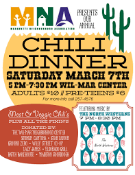 chili supper flyer the mna annual chili dinner to be held at the wil mar center on