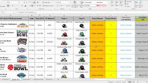 college selection spreadsheet 2017 college football bowl prediction pool manager spreadsheet