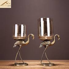 Europe Creative Ostrich candle holders wedding home BAR Restaurant  decorations Candlestick Nordic American glass candle holder