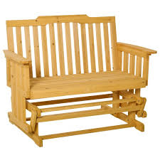 outsunny 2 person outdoor glider bench