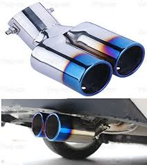 1Pcs Blue Double Outlets <b>Exhaust Muffler Tail Pipe</b> Tip Tailpipe for ...