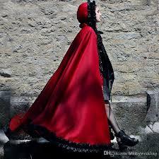 Halloween Red Hooded Wedding Cape Long Jacket Cloak Bridal Bolero Women Wrap Shawls Medieval Vestios With Black Ruffle Edge