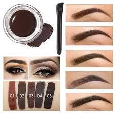 プロフェッショナルアイ眉色合い化粧ツールキット防水高眉5色顔料ブラックブラウンヘナ