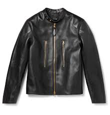 dunhillduke slim fit leather biker jacket