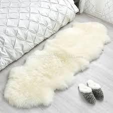 double ivory white sheepskin rug 2 pelt 2x6 ft